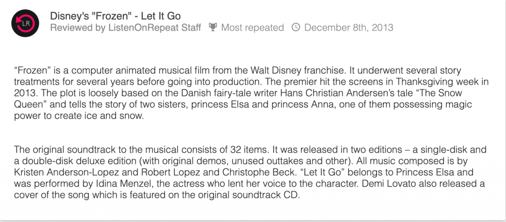 Disney frozen let it go review