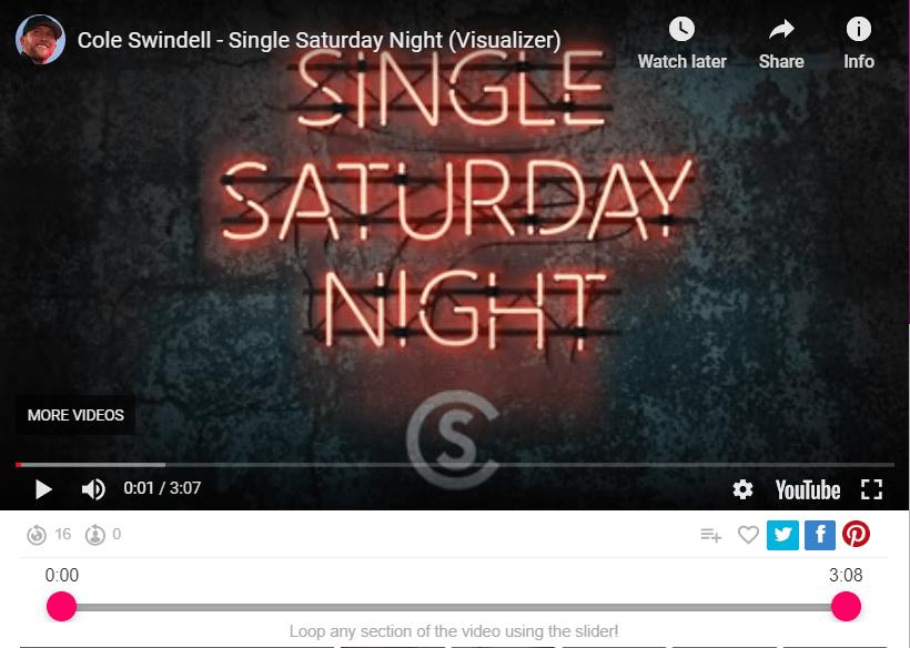 Cole Swindell - Single Saturday Night (Visualizer)